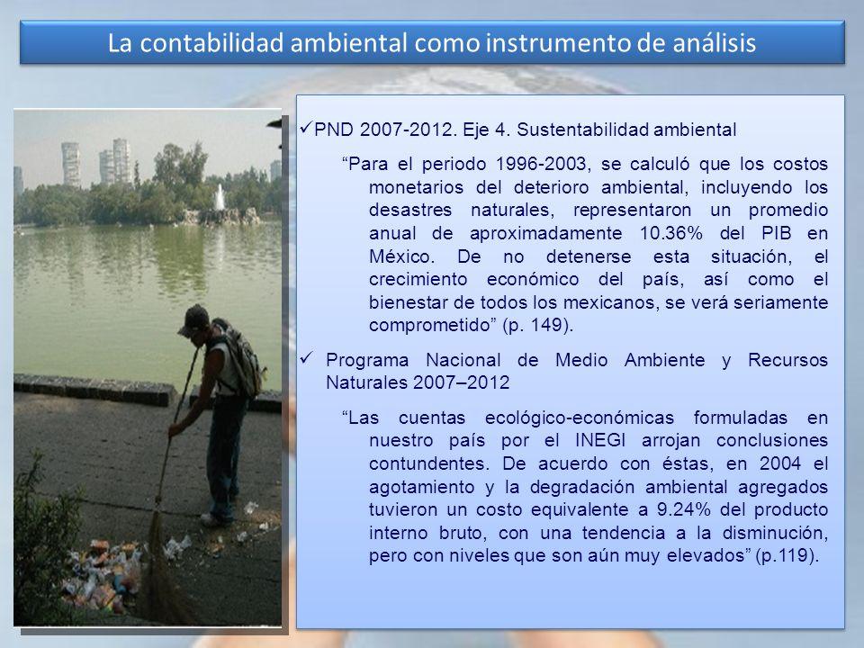 La contabilidad ambiental como instrumento de análisis PND 2007-2012. Eje 4. Sustentabilidad ambiental Para el periodo 1996-2003, se calculó que los c