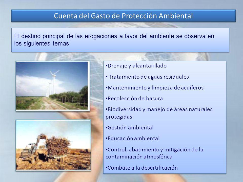 Cuenta del Gasto de Protección Ambiental El destino principal de las erogaciones a favor del ambiente se observa en los siguientes temas: Drenaje y al