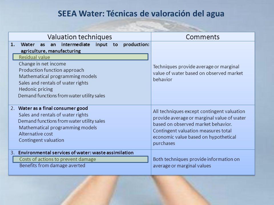 SEEA Water: Técnicas de valoración del agua