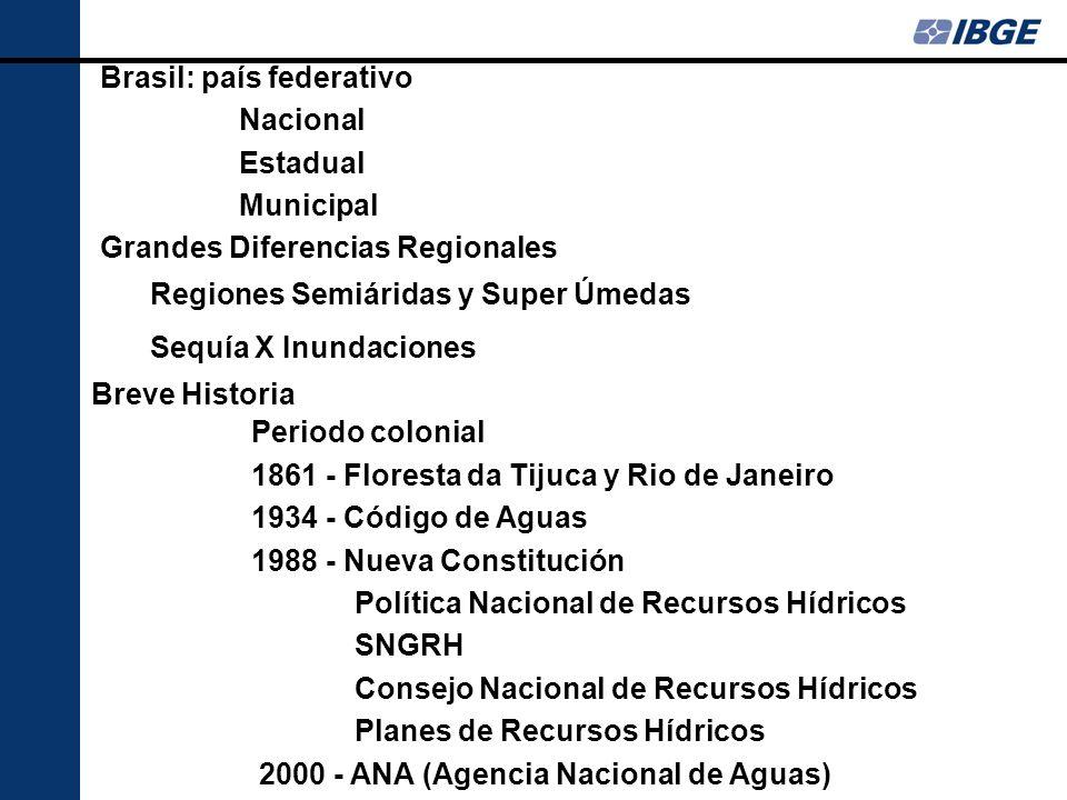 Temas Prioritarios para Brasil Organizar y completar las estadísticas del água Implantar los Comités de Cuenca Disciplinar el uso del água Preservar los Recursos Hídricos: cantidad y calidad Cambios en el Clima Crear arreglos institucionales Histórico en IBGE 1998 - 2000 Grupo de Estudios de Cuentas Ambientales: Cuentas de Tierra, de Recursos Minerales, Forestas - SICEA Reflexões sobre o papel de um Núcleo de Meio Ambiente na DPE-IBGE - No habia estadísticas 2002 - Indicadores de Desarollo Sostenible