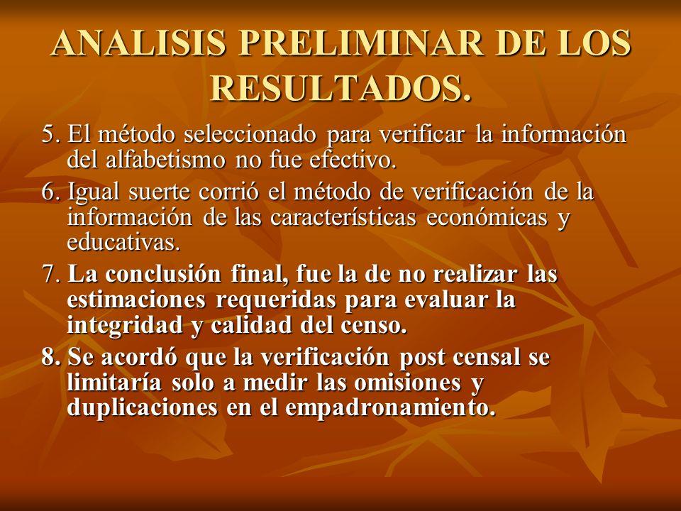 ANALISIS PRELIMINAR DE LOS RESULTADOS. 5. El método seleccionado para verificar la información del alfabetismo no fue efectivo. 6. Igual suerte corrió