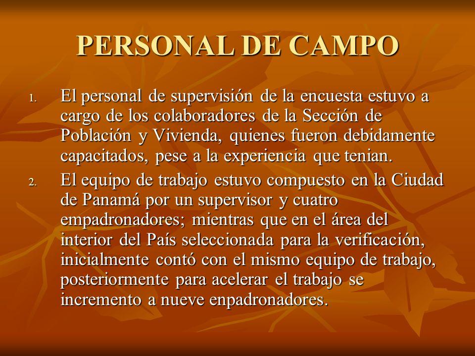 PERSONAL DE CAMPO 1. El personal de supervisión de la encuesta estuvo a cargo de los colaboradores de la Sección de Población y Vivienda, quienes fuer