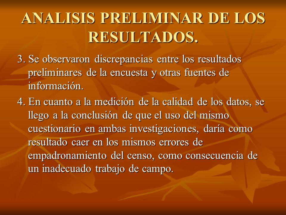 ANALISIS PRELIMINAR DE LOS RESULTADOS. 3. Se observaron discrepancias entre los resultados preliminares de la encuesta y otras fuentes de información.