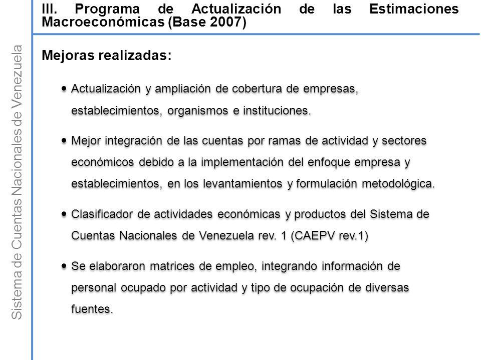 Sistema de Cuentas Nacionales de Venezuela Mejoras realizadas: Actualización y ampliación de cobertura de empresas, establecimientos, organismos e ins