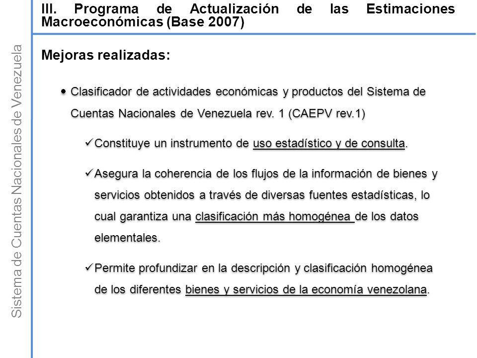 Sistema de Cuentas Nacionales de Venezuela Clasificador de actividades económicas y productos del Sistema de Cuentas Nacionales de Venezuela rev. 1 (C