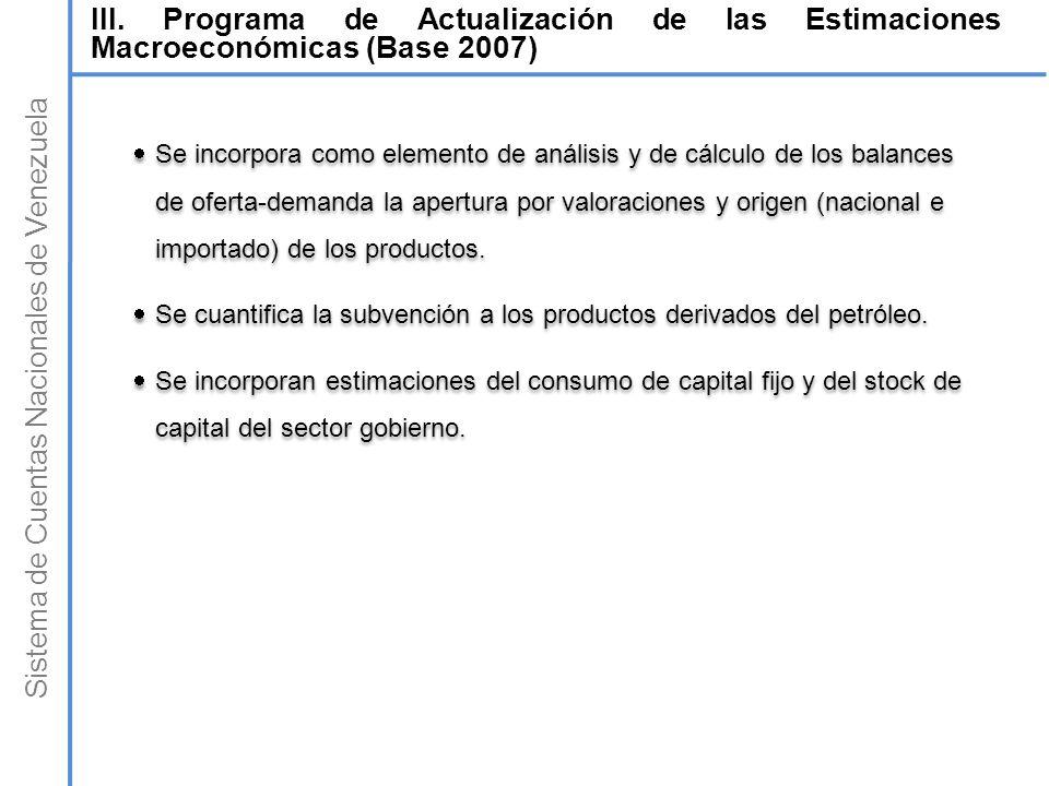 Sistema de Cuentas Nacionales de Venezuela Se incorpora como elemento de análisis y de cálculo de los balances de oferta-demanda la apertura por valor