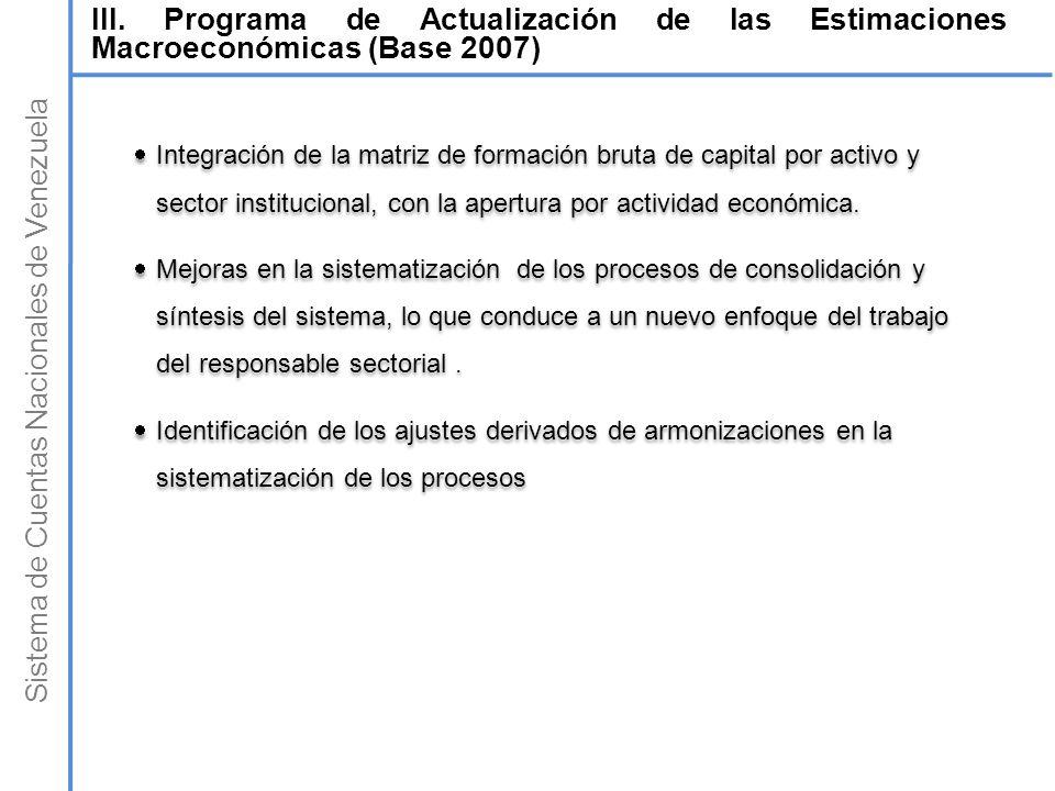 Sistema de Cuentas Nacionales de Venezuela Integración de la matriz de formación bruta de capital por activo y sector institucional, con la apertura p