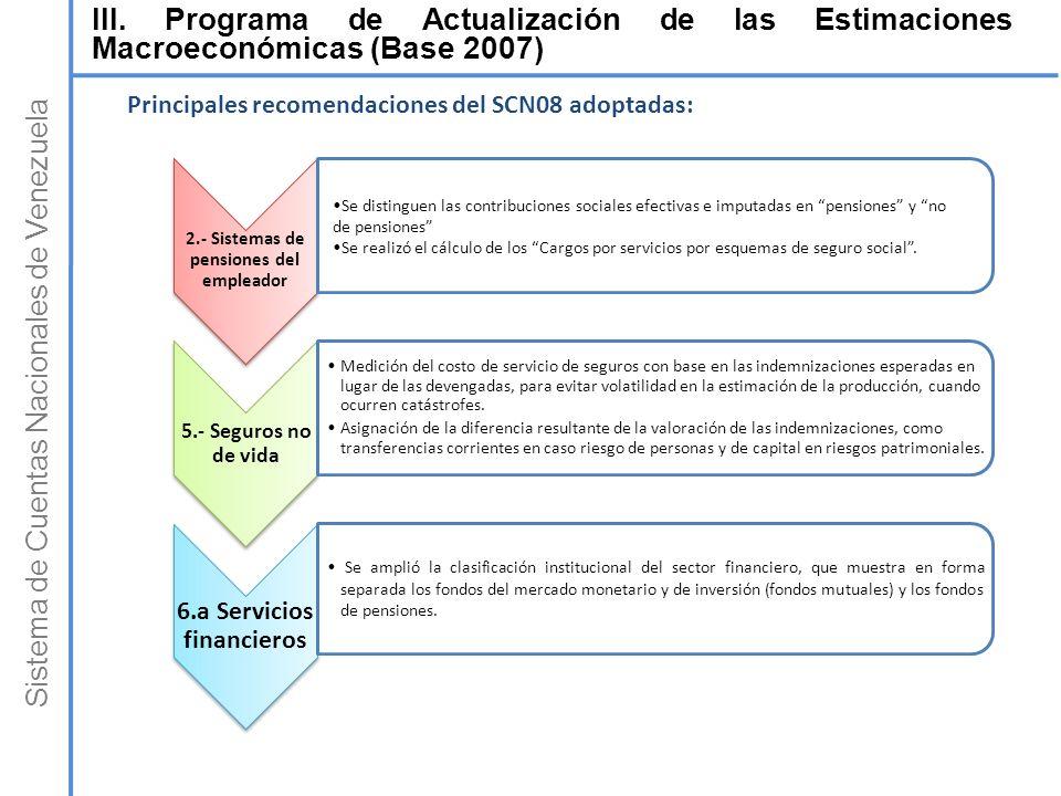 Sistema de Cuentas Nacionales de Venezuela 2.- Sistemas de pensiones del empleador 5.- Seguros no de vida Medición del costo de servicio de seguros co