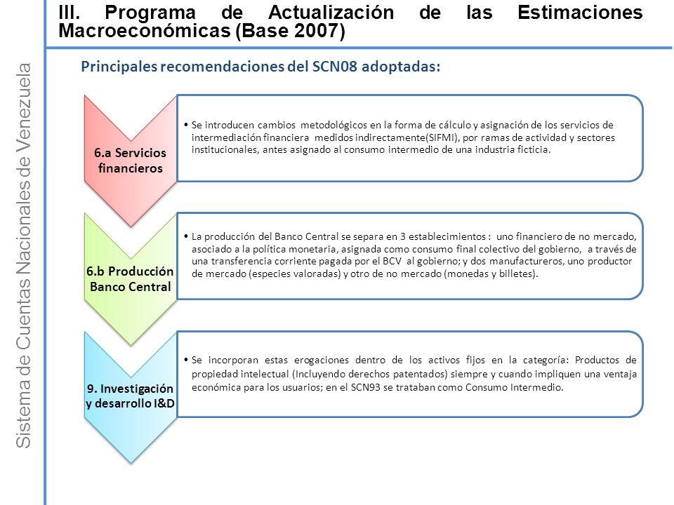 Sistema de Cuentas Nacionales de Venezuela 6.a Servicios financieros Se introducen cambios metodológicos en la forma de cálculo y asignación de los se
