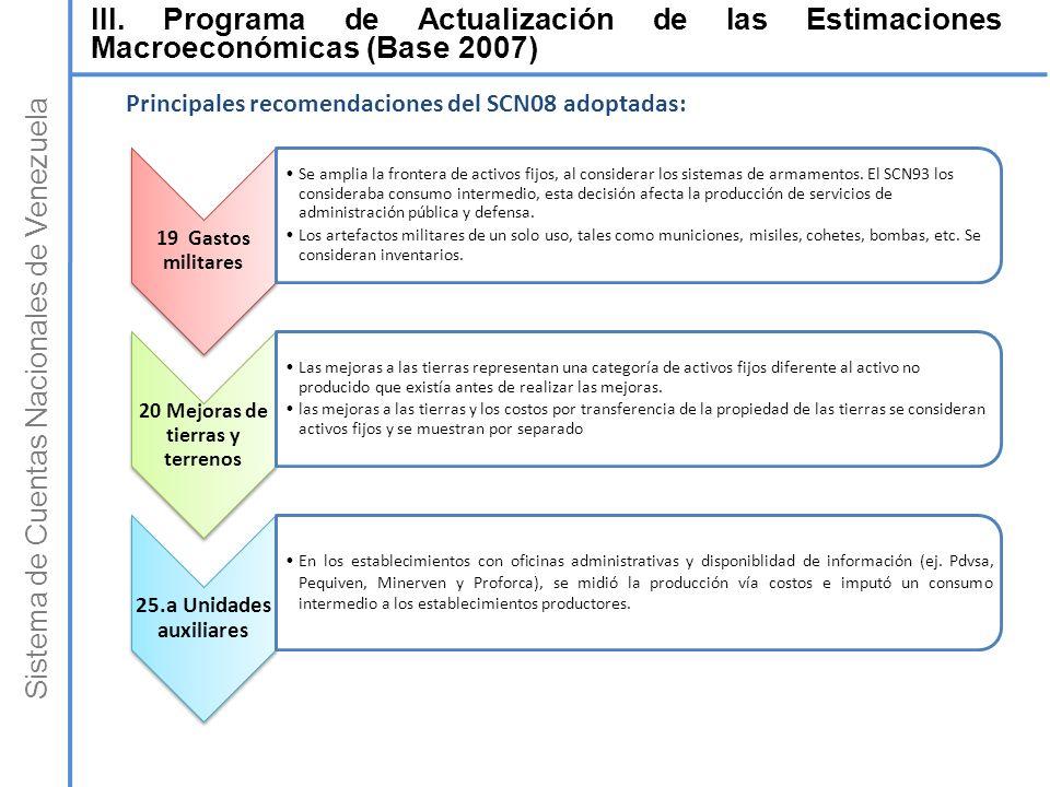 Sistema de Cuentas Nacionales de Venezuela 19 Gastos militares Se amplia la frontera de activos fijos, al considerar los sistemas de armamentos. El SC