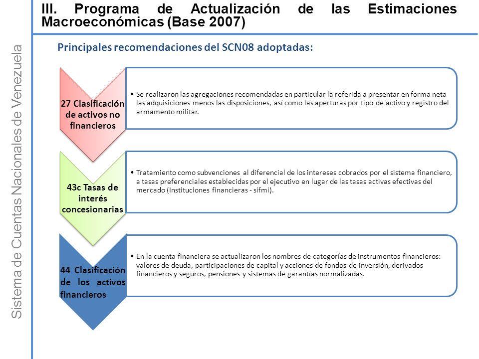 Sistema de Cuentas Nacionales de Venezuela 27 Clasificación de activos no financieros Se realizaron las agregaciones recomendadas en particular la ref
