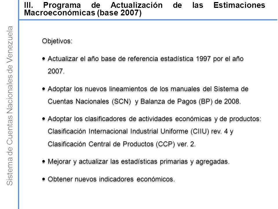 Sistema de Cuentas Nacionales de Venezuela III. Programa de Actualización de las Estimaciones Macroeconómicas (base 2007) Objetivos: Actualizar el año