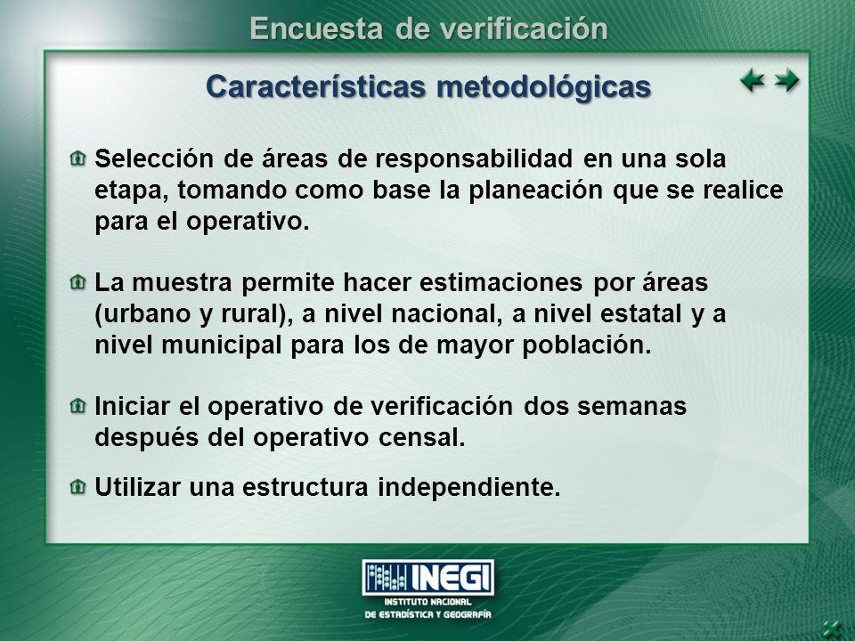 Características metodológicas Selección de áreas de responsabilidad en una sola etapa, tomando como base la planeación que se realice para el operativo.