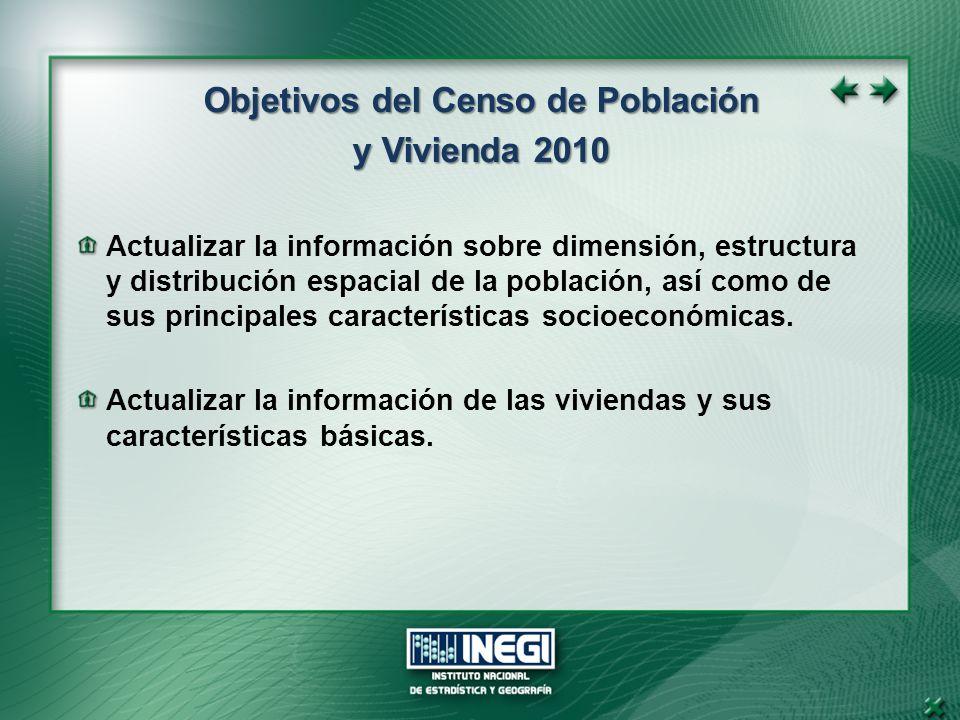 Objetivos del Censo de Población y Vivienda 2010 Actualizar la información sobre dimensión, estructura y distribución espacial de la población, así como de sus principales características socioeconómicas.