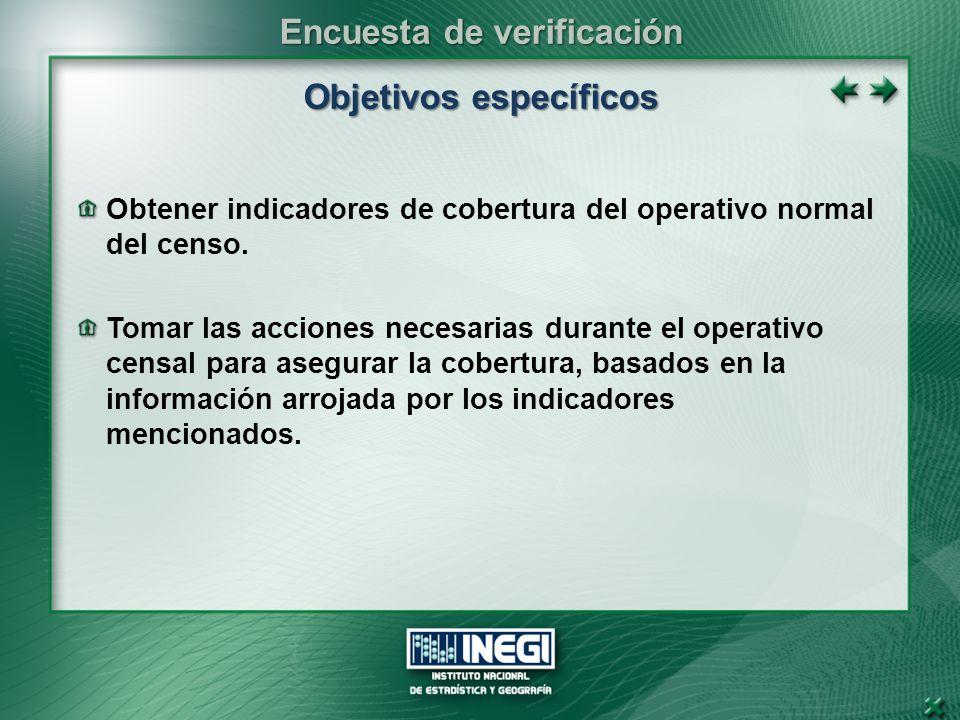 Objetivos específicos Obtener indicadores de cobertura del operativo normal del censo.
