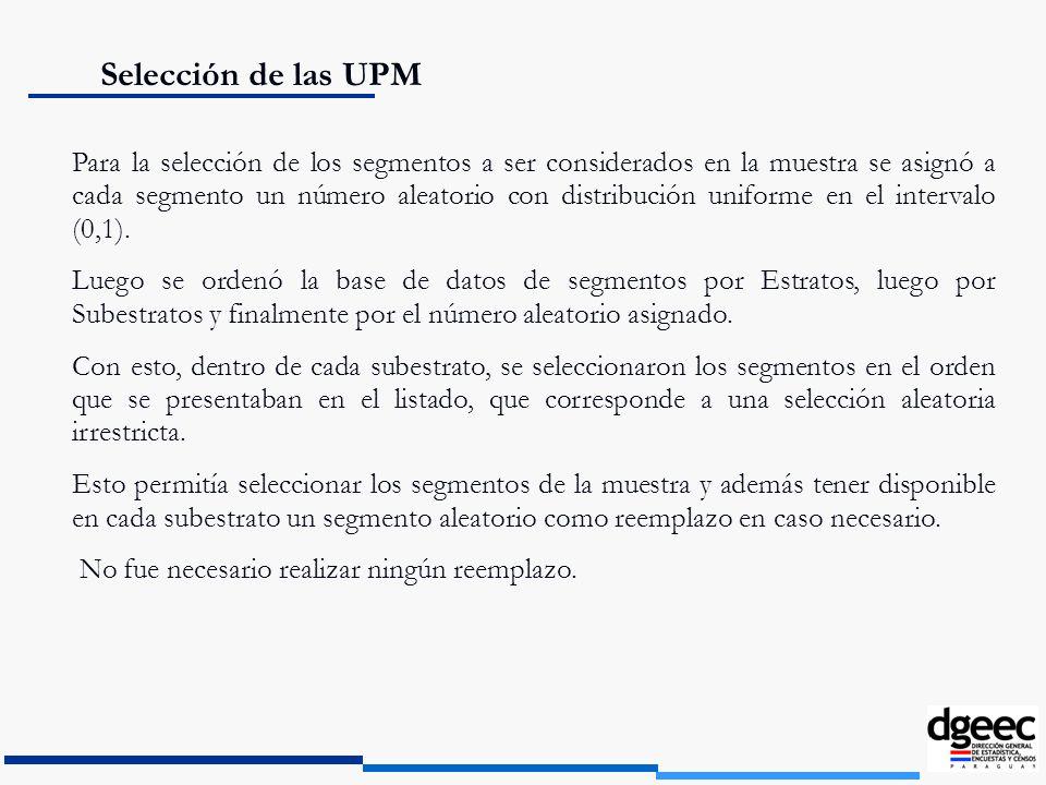 Selección de las UPM Para la selección de los segmentos a ser considerados en la muestra se asignó a cada segmento un número aleatorio con distribució