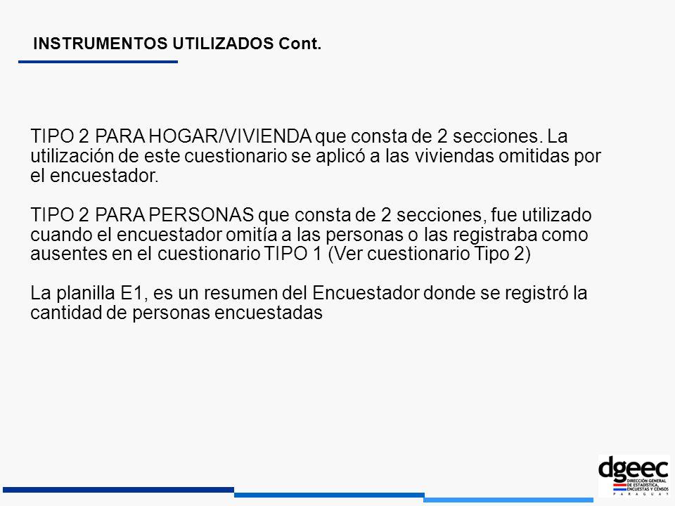 TIPO 2 PARA HOGAR/VIVIENDA que consta de 2 secciones. La utilización de este cuestionario se aplicó a las viviendas omitidas por el encuestador. TIPO