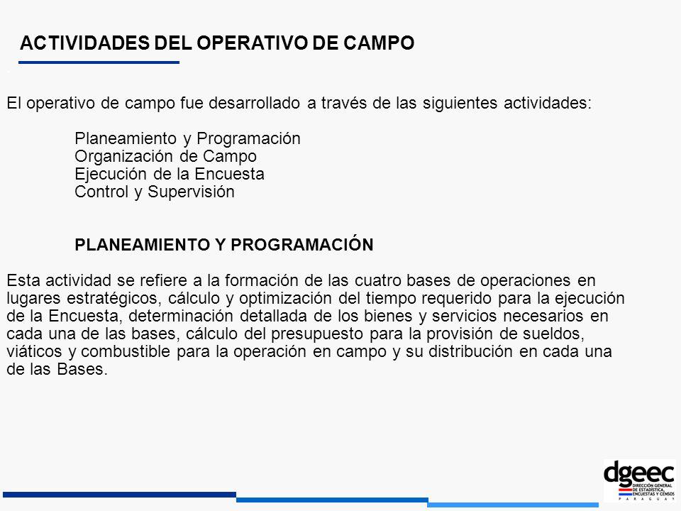ACTIVIDADES DEL OPERATIVO DE CAMPO. El operativo de campo fue desarrollado a través de las siguientes actividades: Planeamiento y Programación Organiz