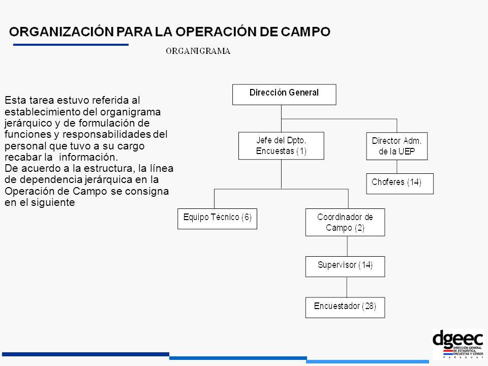 Esta tarea estuvo referida al establecimiento del organigrama jerárquico y de formulación de funciones y responsabilidades del personal que tuvo a su