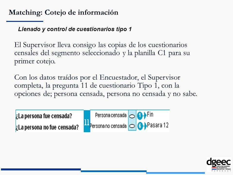 Matching: Cotejo de información Llenado y control de cuestionarios tipo 1 El Supervisor lleva consigo las copias de los cuestionarios censales del seg