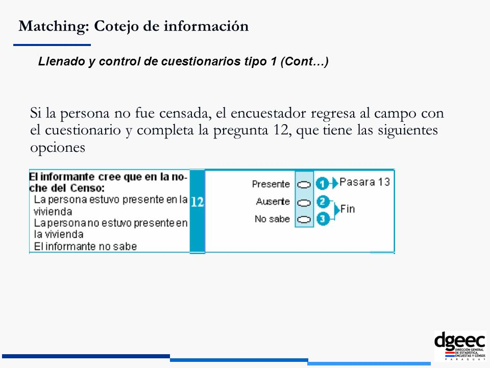 Matching: Cotejo de información Llenado y control de cuestionarios tipo 1 (Cont…) Si la persona no fue censada, el encuestador regresa al campo con el