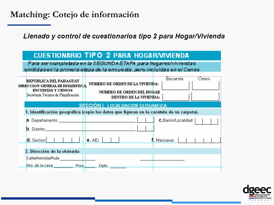 Matching: Cotejo de información Llenado y control de cuestionarios tipo 2 para Hogar/Vivienda