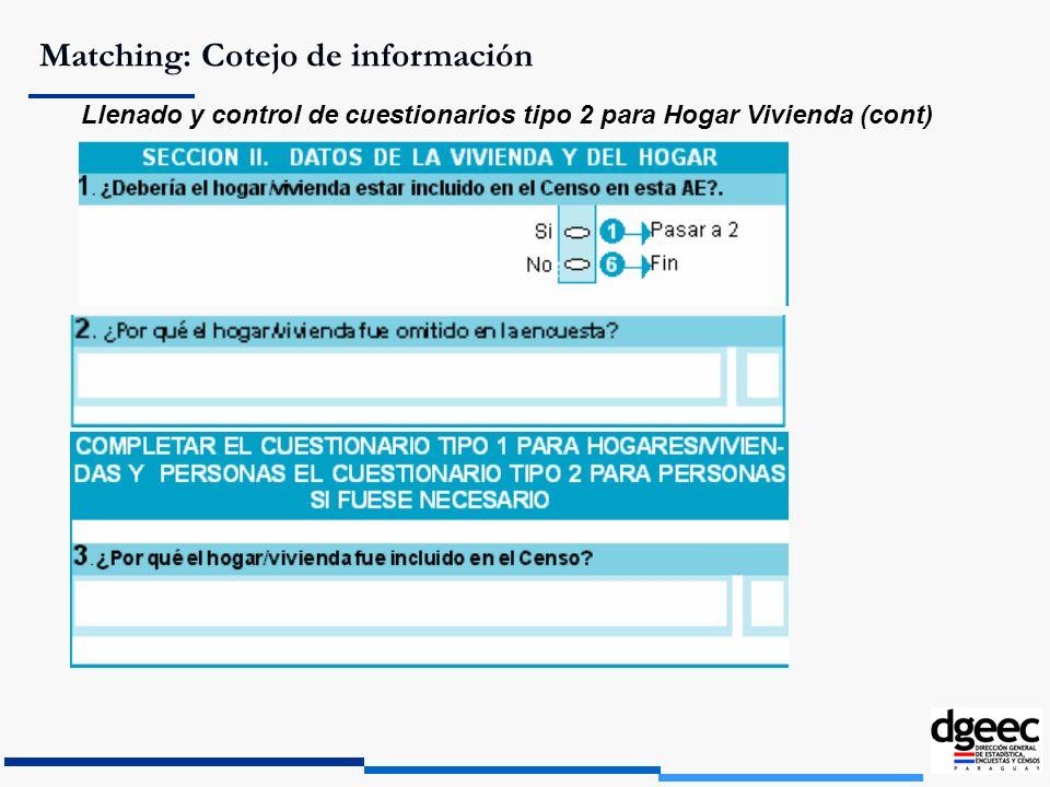 Matching: Cotejo de información Llenado y control de cuestionarios tipo 2 para Hogar Vivienda (cont)