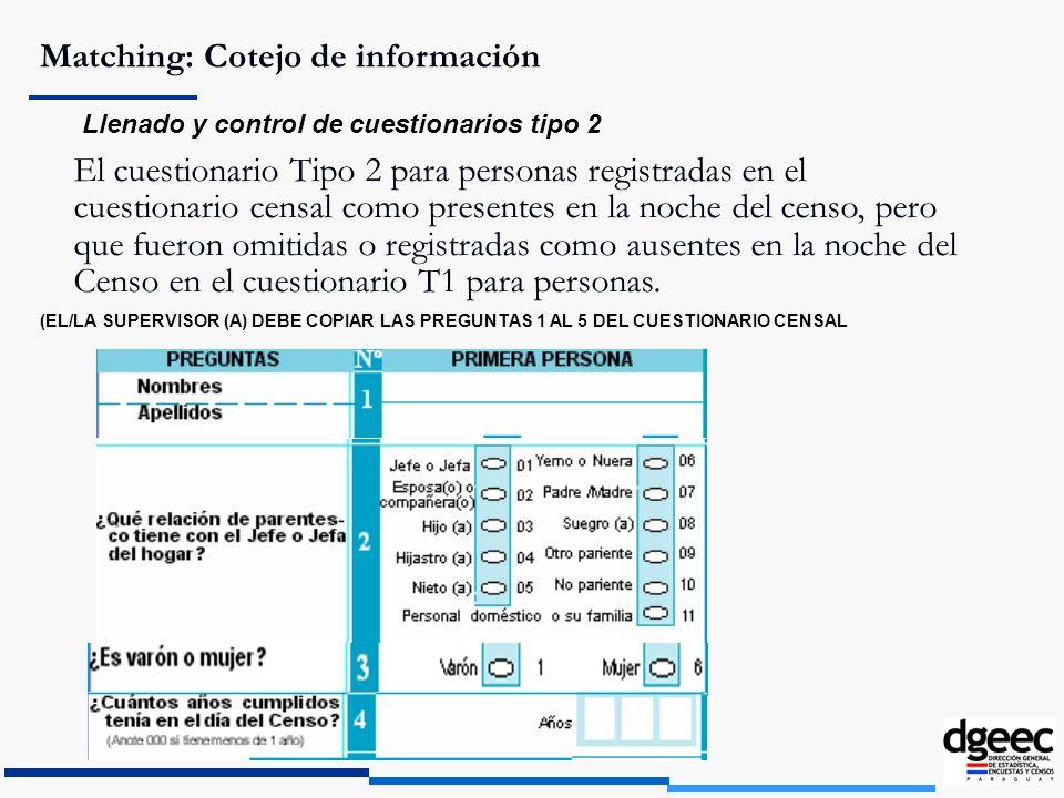 Matching: Cotejo de información Llenado y control de cuestionarios tipo 2 El cuestionario Tipo 2 para personas registradas en el cuestionario censal c