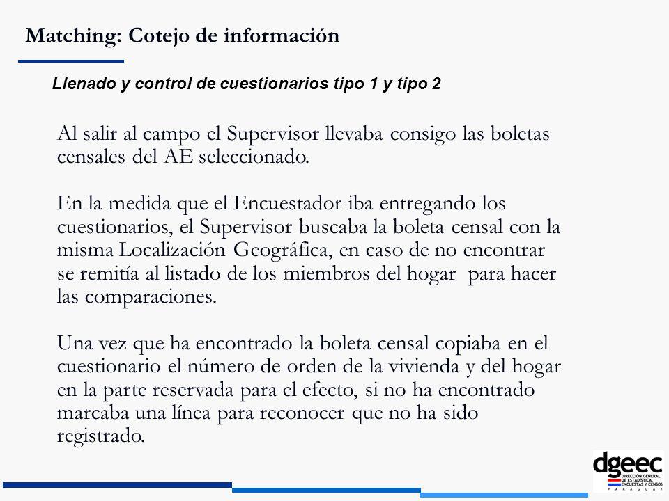 Matching: Cotejo de información Llenado y control de cuestionarios tipo 1 y tipo 2 Al salir al campo el Supervisor llevaba consigo las boletas censale