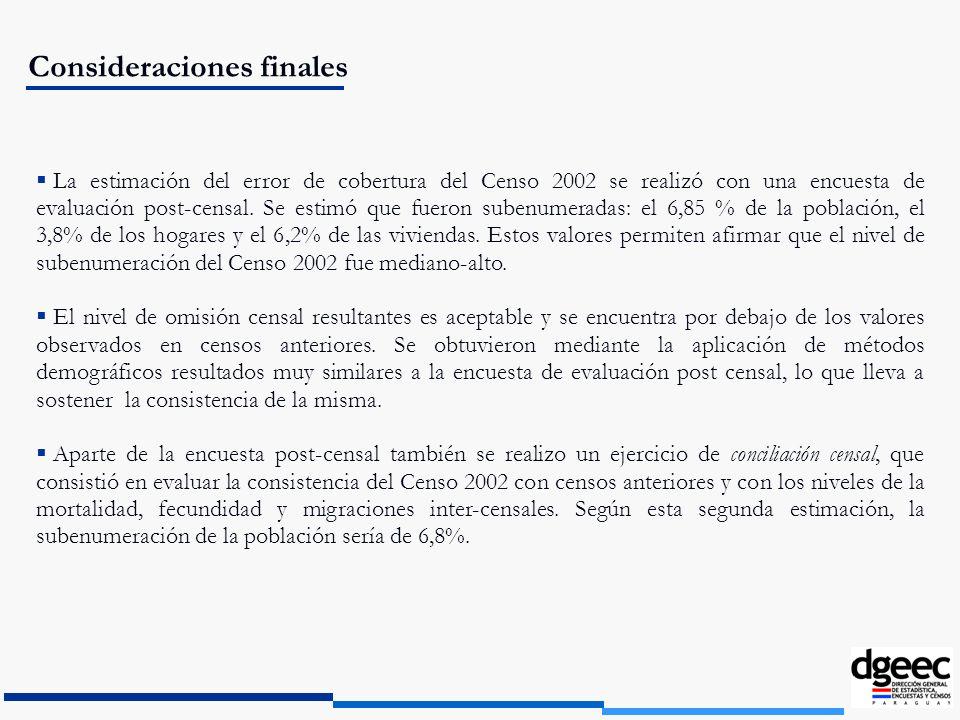 Consideraciones finales La estimación del error de cobertura del Censo 2002 se realizó con una encuesta de evaluación post-censal. Se estimó que fuero
