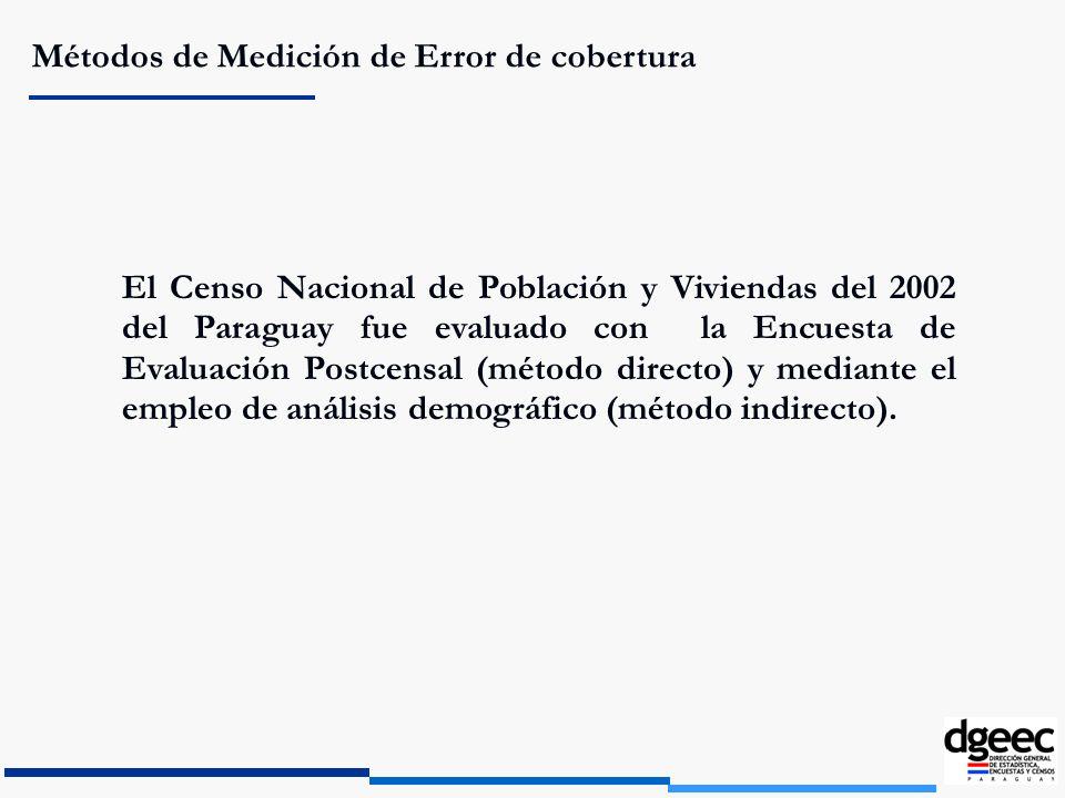 Métodos de Medición de Error de cobertura El Censo Nacional de Población y Viviendas del 2002 del Paraguay fue evaluado con la Encuesta de Evaluación