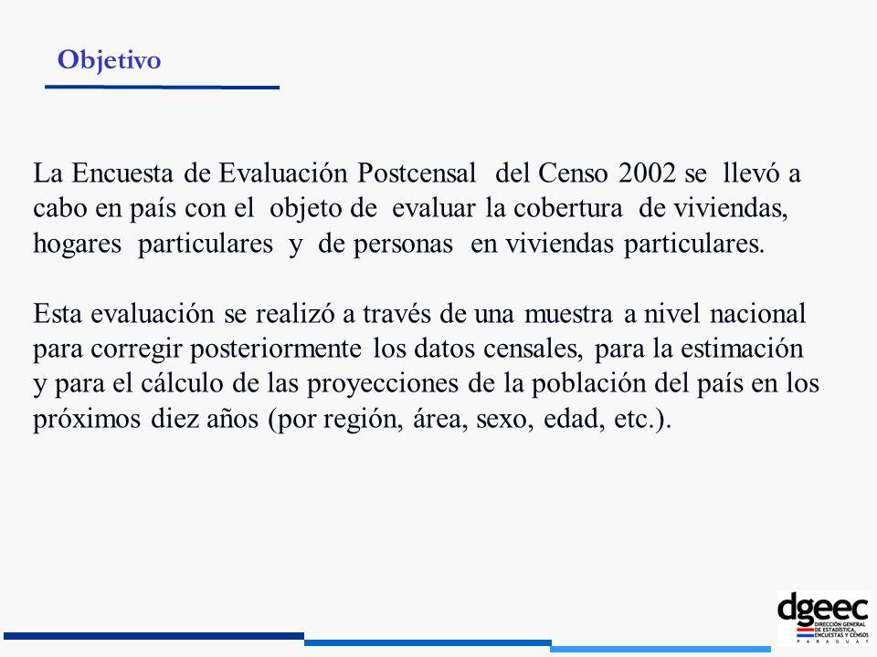 La Encuesta de Evaluación Postcensal del Censo 2002 se llevó a cabo en país con el objeto de evaluar la cobertura de viviendas, hogares particulares y