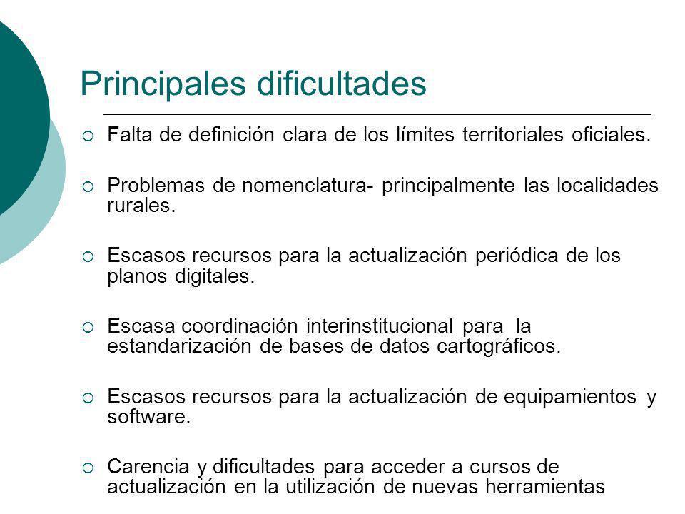 Falta de definición clara de los límites territoriales oficiales. Problemas de nomenclatura- principalmente las localidades rurales. Escasos recursos