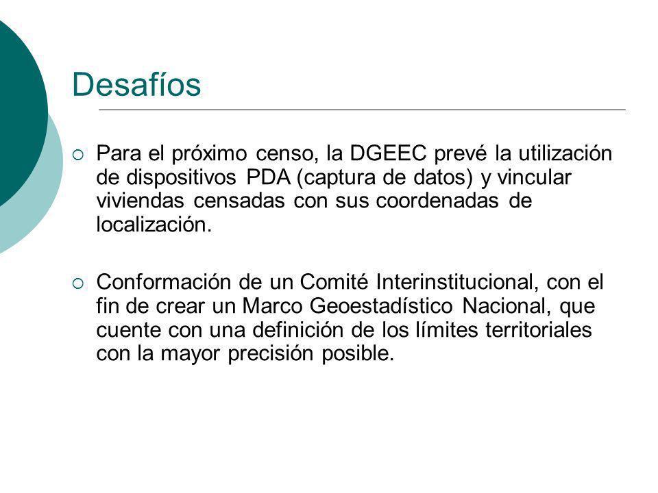 Para el próximo censo, la DGEEC prevé la utilización de dispositivos PDA (captura de datos) y vincular viviendas censadas con sus coordenadas de local