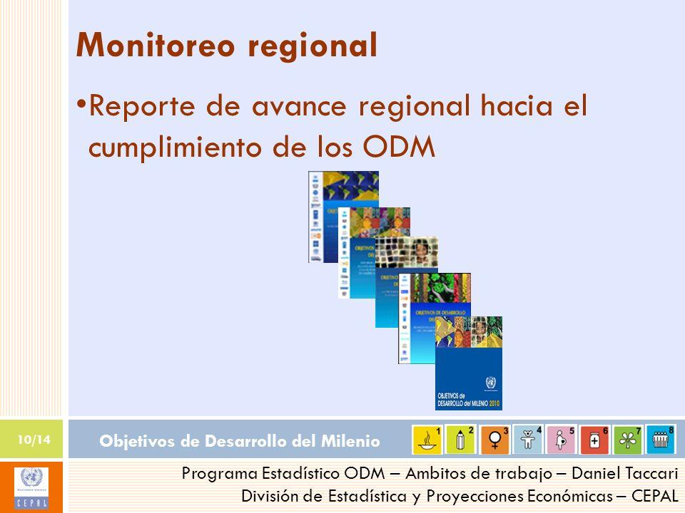 Objetivos de Desarrollo del Milenio 10/14 Programa Estadístico ODM – Ambitos de trabajo – Daniel Taccari División de Estadística y Proyecciones Económ