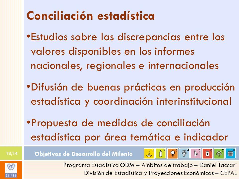 Objetivos de Desarrollo del Milenio 13/14 Programa Estadístico ODM – Ambitos de trabajo – Daniel Taccari División de Estadística y Proyecciones Económ