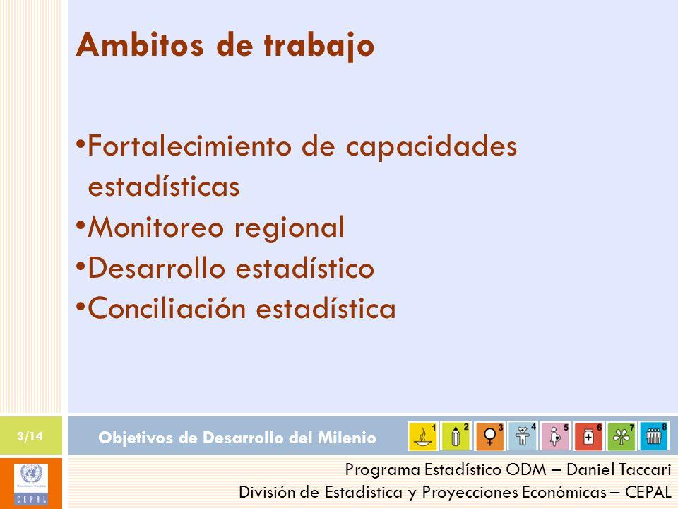 Objetivos de Desarrollo del Milenio 3/14 Programa Estadístico ODM – Daniel Taccari División de Estadística y Proyecciones Económicas – CEPAL Ambitos d