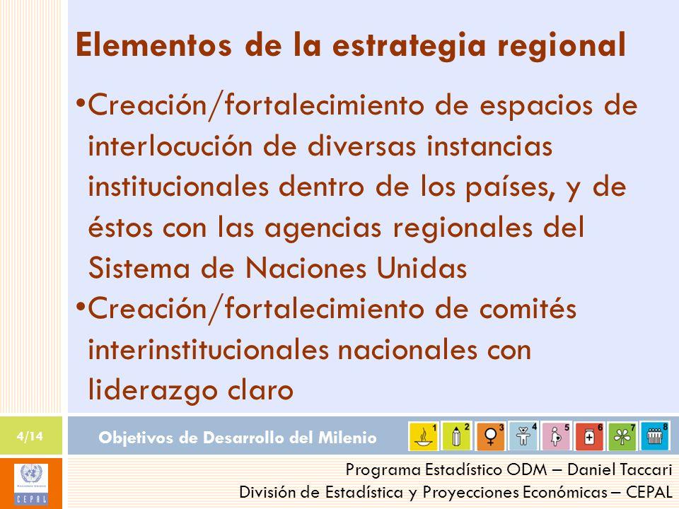 Objetivos de Desarrollo del Milenio 4/14 Programa Estadístico ODM – Daniel Taccari División de Estadística y Proyecciones Económicas – CEPAL Elementos