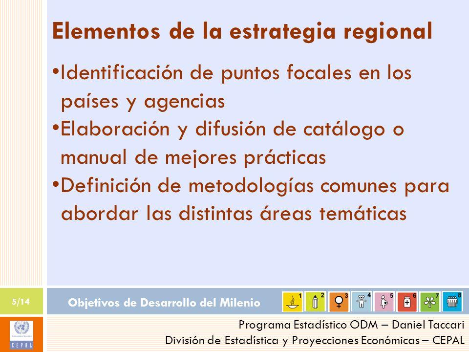 Objetivos de Desarrollo del Milenio 5/14 Programa Estadístico ODM – Daniel Taccari División de Estadística y Proyecciones Económicas – CEPAL Elementos