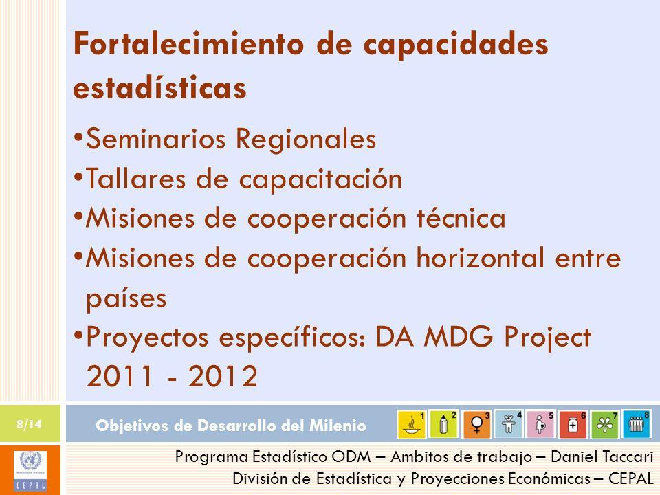 Objetivos de Desarrollo del Milenio 8/14 Programa Estadístico ODM – Ambitos de trabajo – Daniel Taccari División de Estadística y Proyecciones Económi