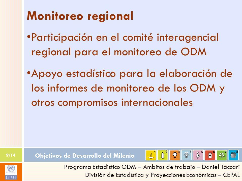 Objetivos de Desarrollo del Milenio 9/14 Programa Estadístico ODM – Ambitos de trabajo – Daniel Taccari División de Estadística y Proyecciones Económi