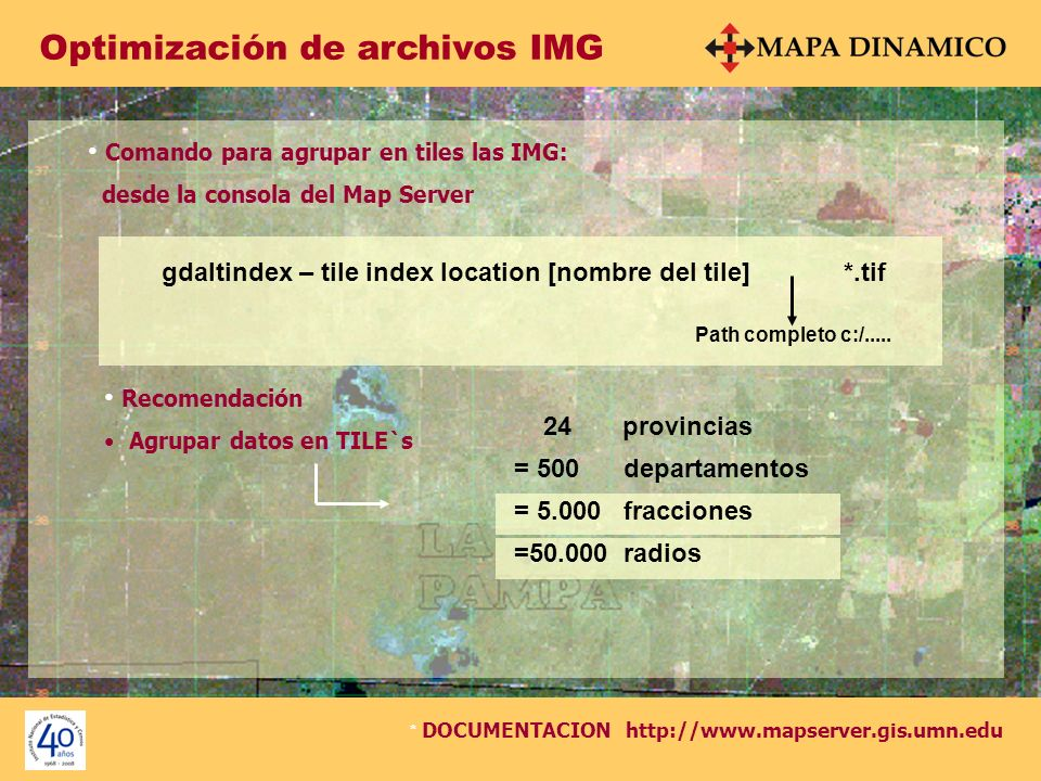 Optimización de archivos IMG Comando para agrupar en tiles las IMG: desde la consola del Map Server gdaltindex – tile index location [nombre del tile]
