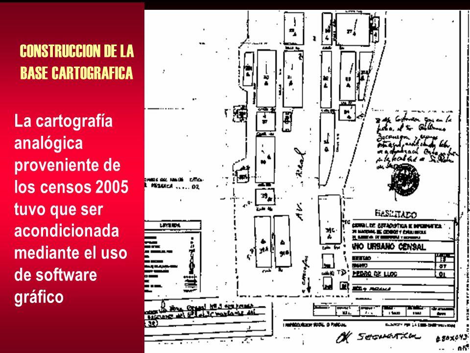 CONSTRUCCION DE LA BASE CARTOGRAFICA La cartografía analógica proveniente de los censos 2005 tuvo que ser acondicionada mediante el uso de software gráfico