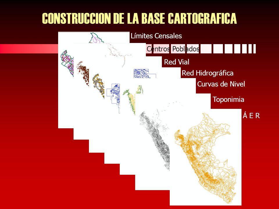 Límites Censales Centros Poblados Red Vial Red Hidrográfica Curvas de Nivel Toponimia Á E R CONSTRUCCION DE LA BASE CARTOGRAFICA
