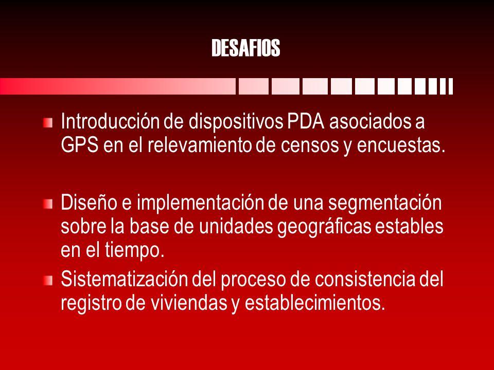 DESAFIOS Introducción de dispositivos PDA asociados a GPS en el relevamiento de censos y encuestas.