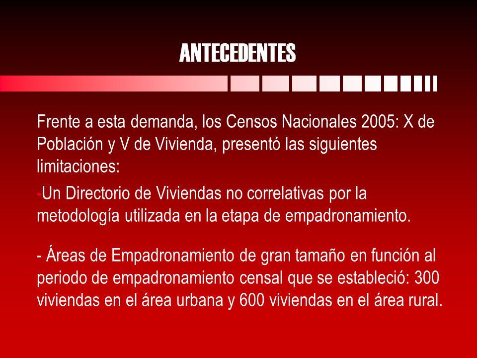 ANTECEDENTES Frente a esta demanda, los Censos Nacionales 2005: X de Población y V de Vivienda, presentó las siguientes limitaciones: - -Un Directorio de Viviendas no correlativas por la metodología utilizada en la etapa de empadronamiento.