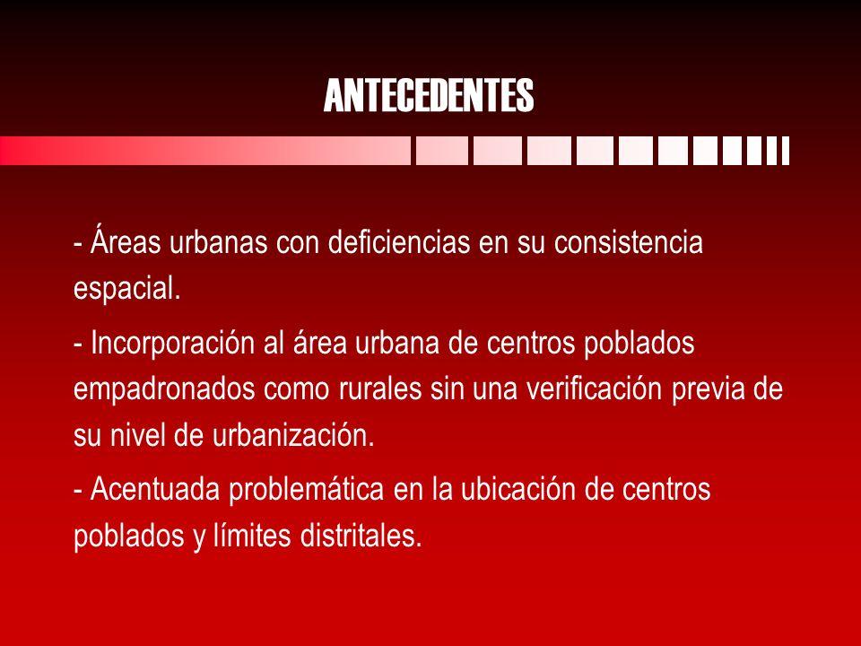 ANTECEDENTES - Áreas urbanas con deficiencias en su consistencia espacial.