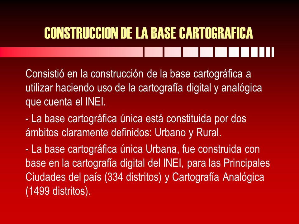 CONSTRUCCION DE LA BASE CARTOGRAFICA Consistió en la construcción de la base cartográfica a utilizar haciendo uso de la cartografía digital y analógica que cuenta el INEI.