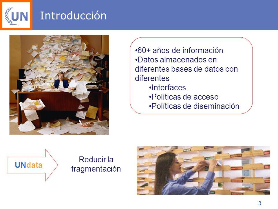 3 Introducción 60+ años de información Datos almacenados en diferentes bases de datos con diferentes Interfaces Políticas de acceso Políticas de diseminación UNdata Reducir la fragmentación