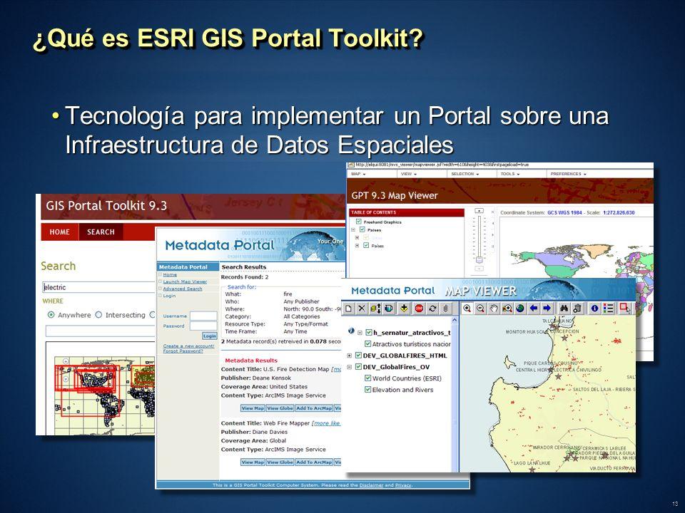 13 ¿Qué es ESRI GIS Portal Toolkit? Tecnología para implementar un Portal sobre una Infraestructura de Datos EspacialesTecnología para implementar un